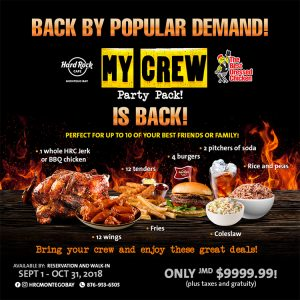 My Crew Party Pack is Back! Hard Rock Cafe - My Deals Today