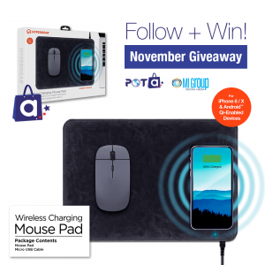 Enter to win a Wireless Charging Mouse Pad with Shoppota!